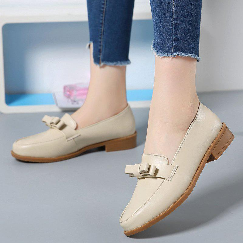 Women Platform Shoes Butterfly Knot Flats Slip on PU Leather Comfortable Round Toe Loafers - BEIGE 34
