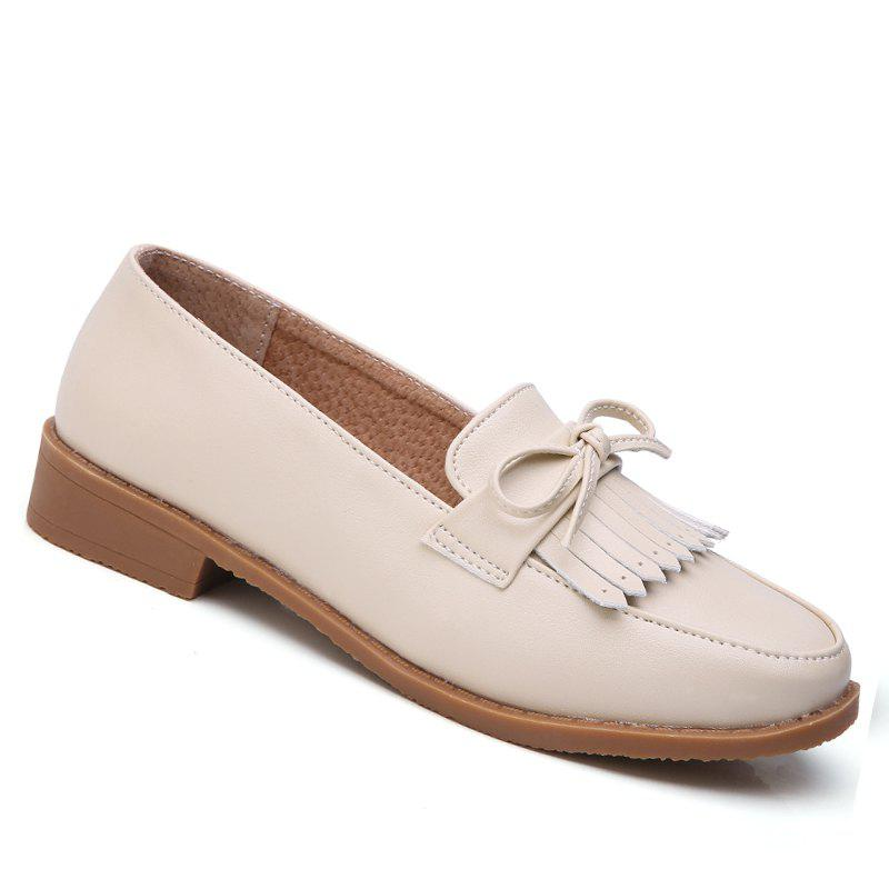 Women Platform Shoes Butterfly Knot Flats Slip on PU Leather Comfortable Round Toe Loafers - BEIGE / BEIGE 34