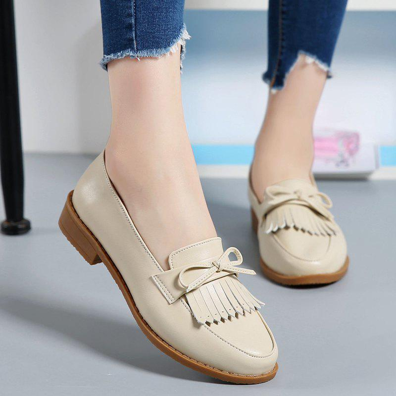 Women Platform Shoes Butterfly Knot Flats Slip on PU Leather Comfortable Round Toe Loafers - BEIGE / BEIGE 39