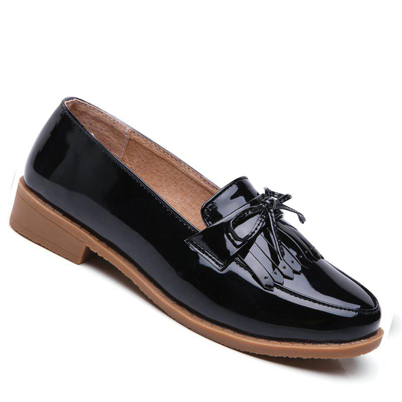 Women Platform Shoes Butterfly Knot Flats Slip on PU Leather Comfortable Round Toe Loafers - BLACK 35