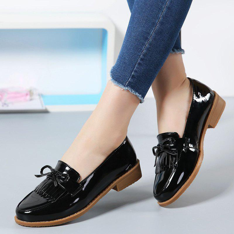 Women Platform Shoes Butterfly Knot Flats Slip on PU Leather Comfortable Round Toe Loafers - BLACK 39