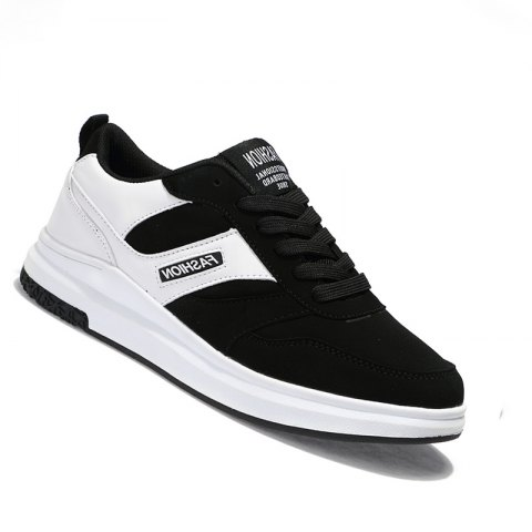 New Arrival Classics Style Men Running Lace Up Sport Outdoor Jogging Walking Athletic Shoes - BLACK WHITE 44