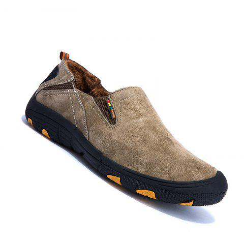Men Loafers Slip on Male Flats Shoes Hiking Mountain Camping Climbing - KHAKI 44