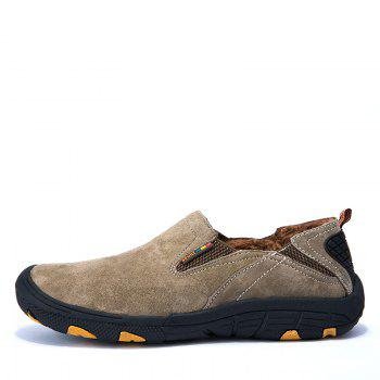 Men Loafers Slip on Male Flats Shoes Hiking Mountain Camping Climbing - KHAKI 40