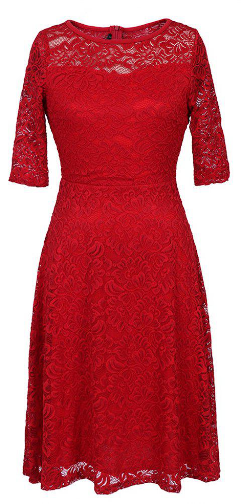 Summer New Style Lace Sheer  Summer Sexy Party Half Sleeve Women A-Line Dress - RED 2XL