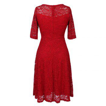 Summer New Style Lace Sheer  Summer Sexy Party Half Sleeve Women A-Line Dress - RED RED