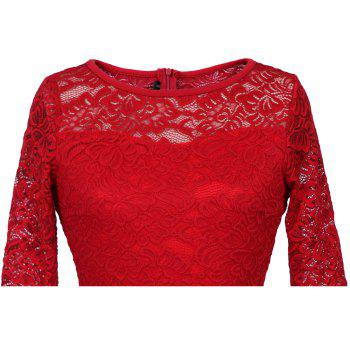 Summer New Style Lace Sheer  Summer Sexy Party Half Sleeve Women A-Line Dress - RED S