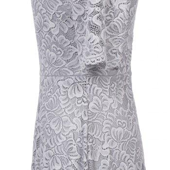 Summer New Style dentelle Sheer Summer Party Sexy demi-manches Femmes A-Line Dress - Gris Argent XL