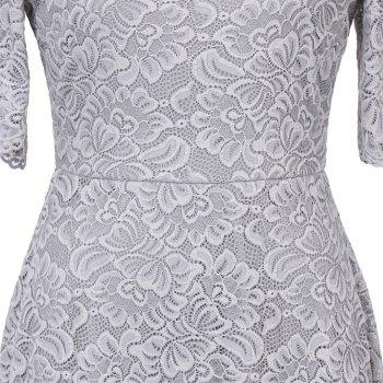 Summer New Style Lace Sheer  Summer Sexy Party Half Sleeve Women A-Line Dress - SILVER GRAY M