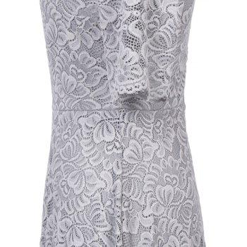 Summer New Style Lace Sheer  Summer Sexy Party Half Sleeve Women A-Line Dress - SILVER GRAY L