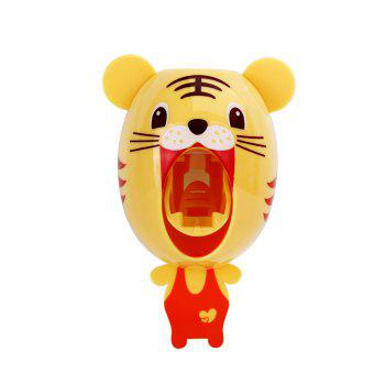 Automatic Toothpaste Squeezing Machine Toothbrush Rack - Little Tiger - YELLOW