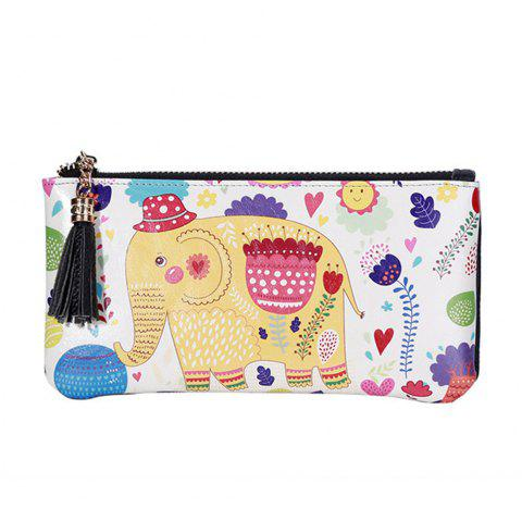 3 - C050 Fashion Elephant Pattern Painted Leather Wallet - COLORFUL