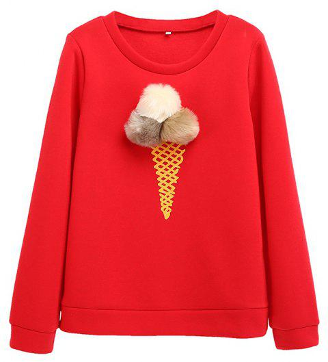 The Bulb Printing Round Neck Long Sleeve Clothes - RED L