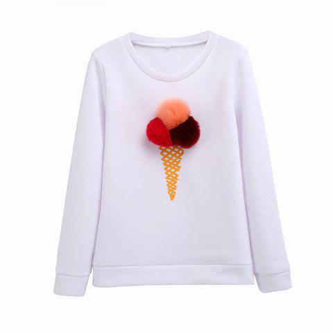 The Bulb Printing Round Neck Long Sleeve Clothes - WHITE L
