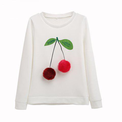 The Bulb Printing Round Neck Long Sleeve Clothes - WHITE 35 L