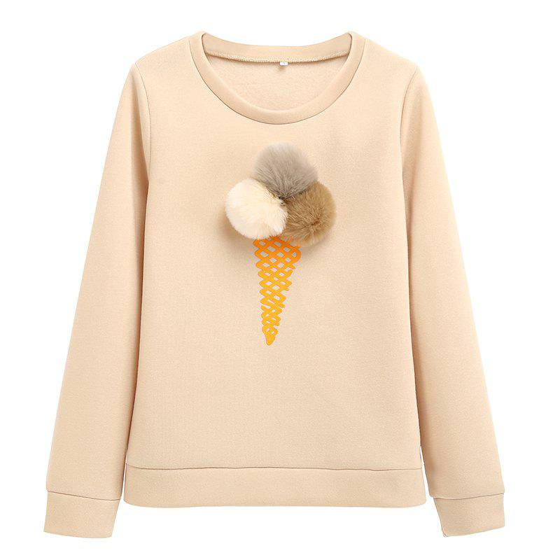 The Bulb Printing Round Neck Long Sleeve Clothes - PALOMINO M