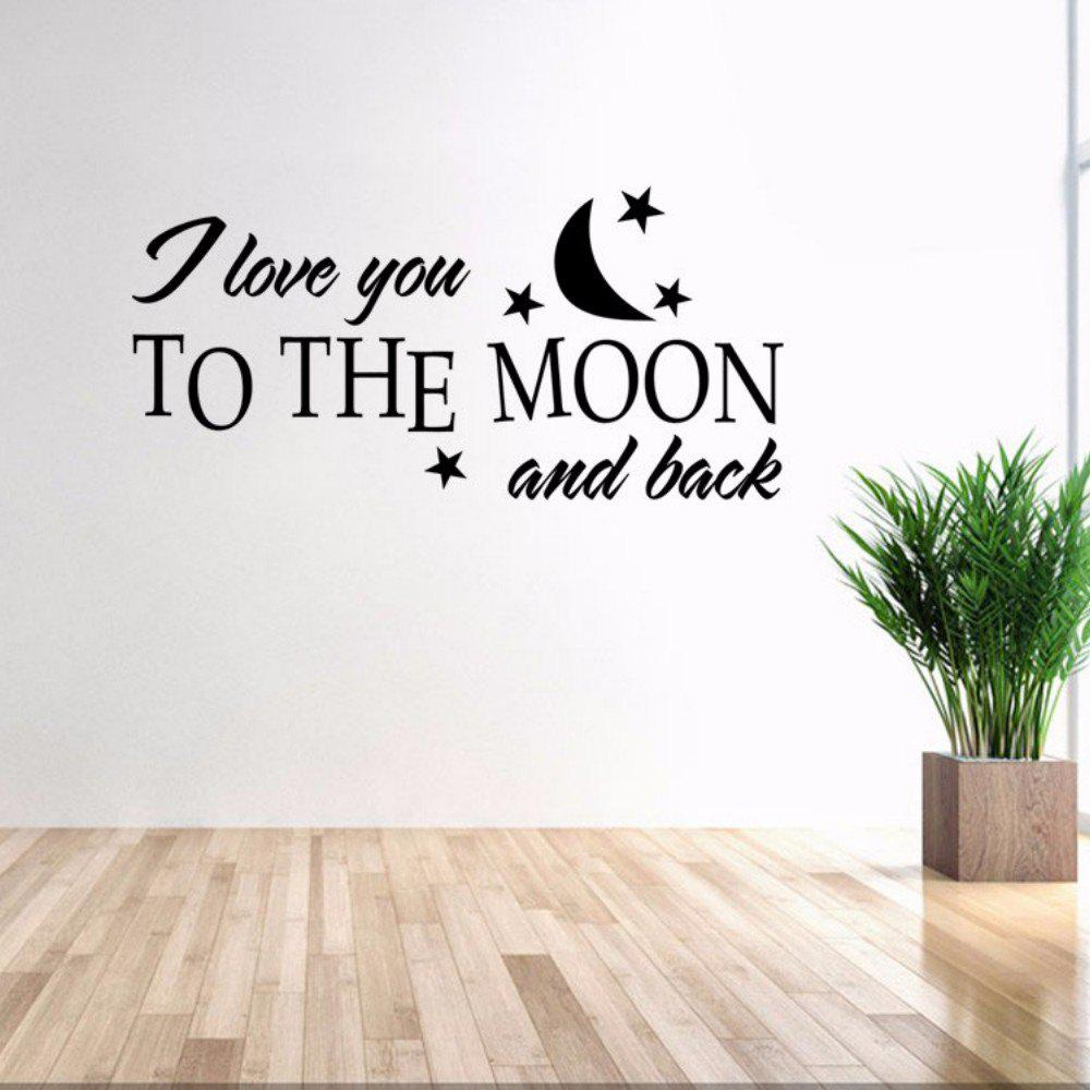DSU Love You Moon English Quote Simple Art Wall Sticker цена