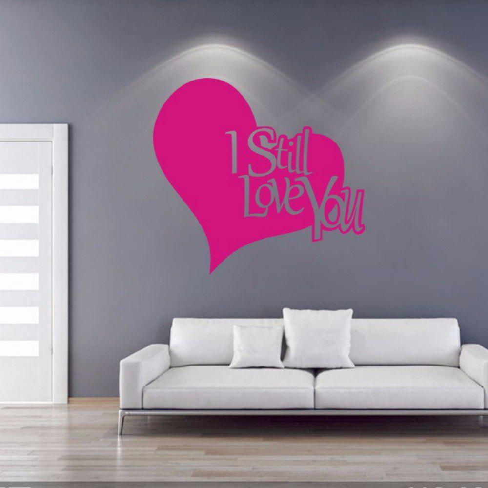DSU Pink Love You English Quote Simple Art Wall Sticker - PINK