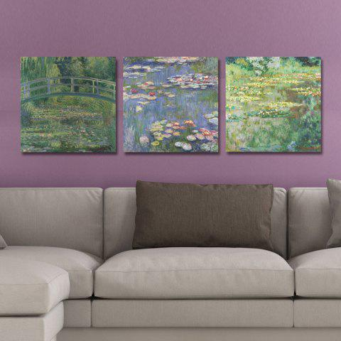 DYC10239 Lotus Pond Print Art Ready to Hang Painting 3PCS - COLORMIX 30 X 30 CM X 3