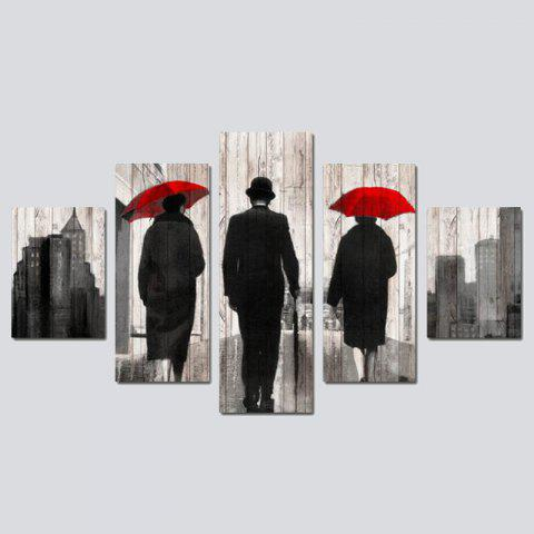 QiaoJiaHuaYuan No Frame Canvas Five-set Painting with Umbrella Characters back - COLORMIX 30 X 42 X 2 + 30 X 70 X 2 + 30 X 90