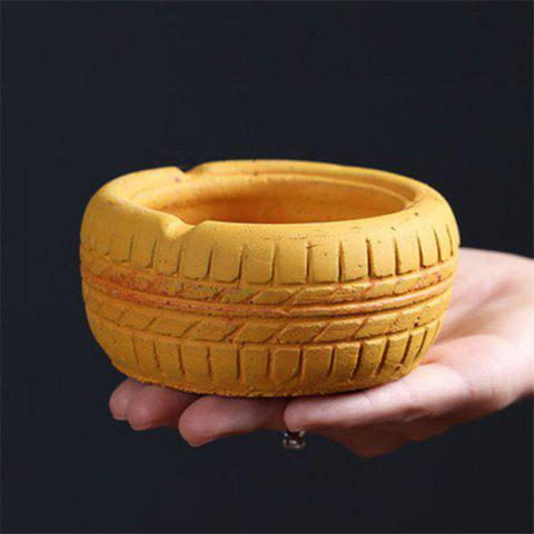 Home Display Vintage Style Tire Shaped Ashtray - YELLOW