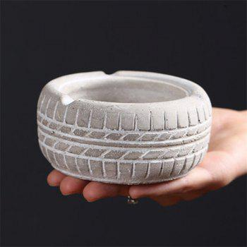 Home Display Vintage Style Tire Shaped Ashtray - WHITE WHITE