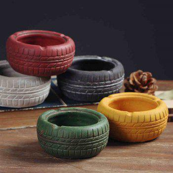 Home Display Vintage Style Tire Shaped Ashtray -  WHITE