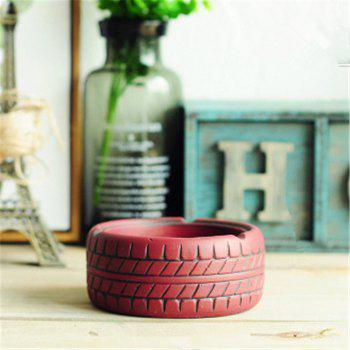 Home Display Vintage Style Tire Shaped Ashtray -  RED