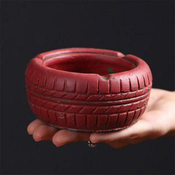 Home Display Vintage Style Tire Shaped Ashtray - RED RED