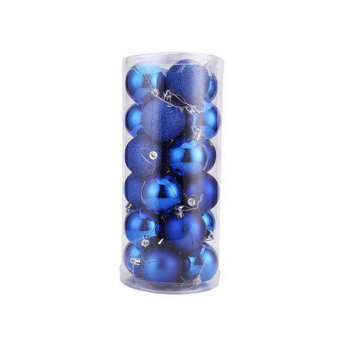 WS 24PCS/PACK Hot Christmas Tree Ornaments Multi-color Ball 6CM Plastic Gift for Xmas Holiday Decoration - BLUE SMALL