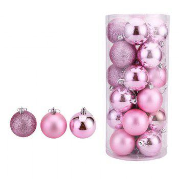 WS 24PCS/PACK Hot Christmas Tree Ornaments Multi-color Ball 6CM Plastic Gift for Xmas Holiday Decoration - PINK SMALL