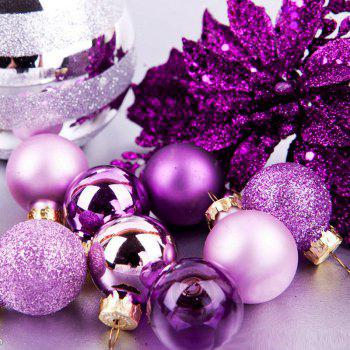 WS 24PCS/PACK Hot Christmas Tree Ornaments Multi-color Ball 6CM Plastic Gift for Xmas Holiday Decoration - PURPLE SMALL