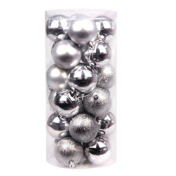 WS 24PCS/PACK Hot Christmas Tree Ornaments Multi-color Ball 6CM Plastic Gift for Xmas Holiday Decoration - SILVER LARGE