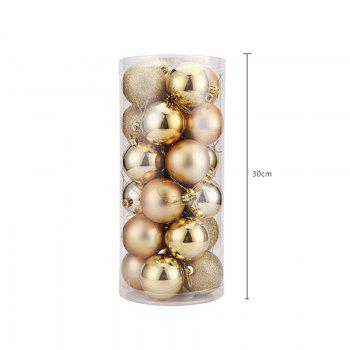 WS 24PCS/PACK Hot Christmas Tree Ornaments Multi-color Ball 6CM Plastic Gift for Xmas Holiday Decoration - GOLDEN LARGE