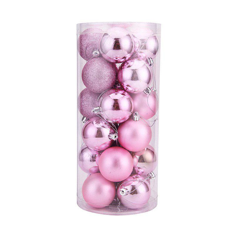 WS 24PCS/PACK Hot Christmas Tree Ornaments Multi-color Ball 6CM Plastic Gift for Xmas Holiday Decoration - PINK LARGE