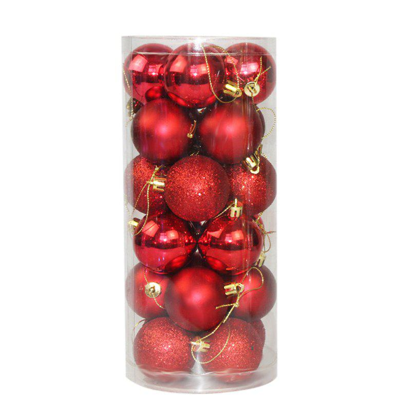WS 24PCS/PACK Hot Christmas Tree Ornaments Multi-color Ball 6CM Plastic Gift for Xmas Holiday Decoration - RED SMALL