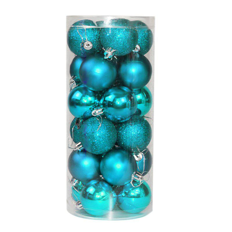 WS 24PCS/PACK Hot Christmas Tree Ornaments Multi-color Ball 6CM Plastic Gift for Xmas Holiday Decoration - GREEN SMALL
