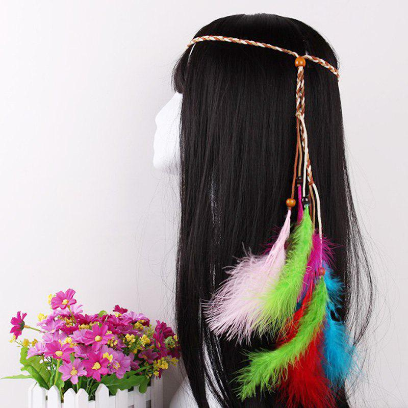 Elegant Feather Headdress Super Fairy Hair Band Colorful Hair Accessories Photo Travel Headdress - KHAKI