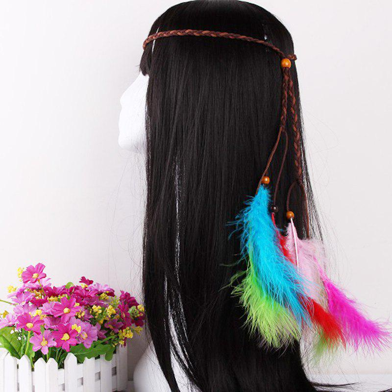 Elegant Feather Headdress Super Fairy Hair Band Colorful Hair Accessories Photo Travel Headdress - CHOCOLATE