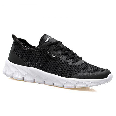 Big Size Couple Style Air Mesh Shoes - BLACK 44
