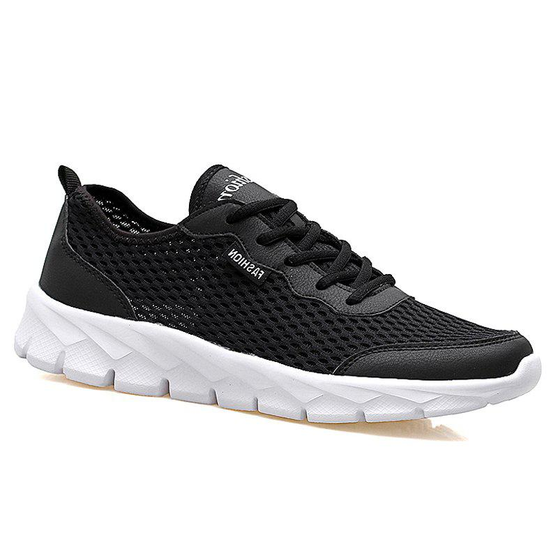 Big Size Couple Style Air Mesh Shoes - BLACK 40