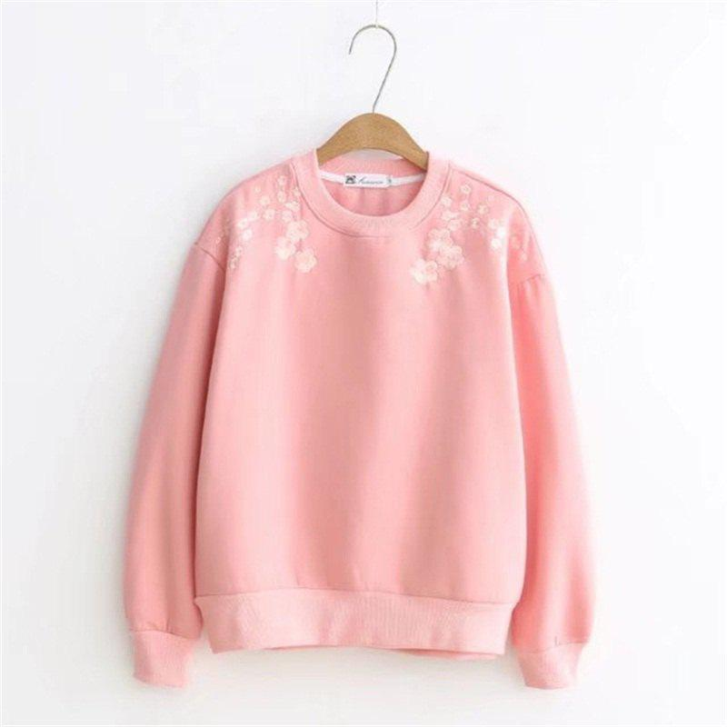 Pink Lady Plum Embroidery with Velvet Hoodie - PAPAYA M