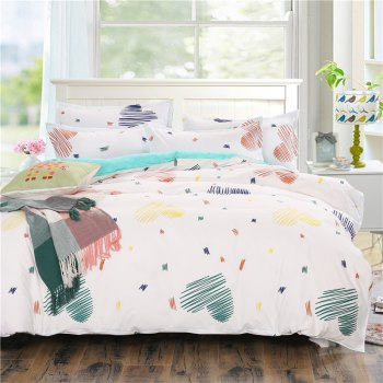 weina 4-piece Cotton Warm Heart Pattern Bedding Set - WHITE WHITE