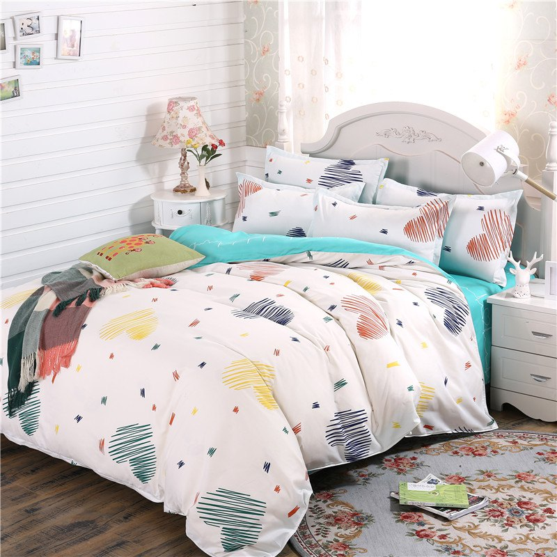 weina 4-piece Cotton Warm Heart Pattern Bedding Set - WHITE QUEEN