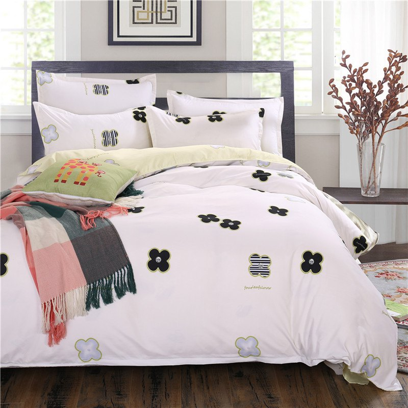 weina 4-piece Cotton Warm Lovely Pattern Bedding Set - WHITE QUEEN