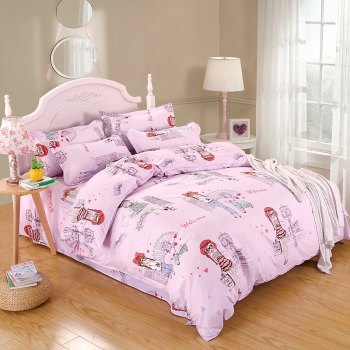 weina 4-piece Cotton Warm Pretty Girl Pattern Bedding Set - PINK PINK