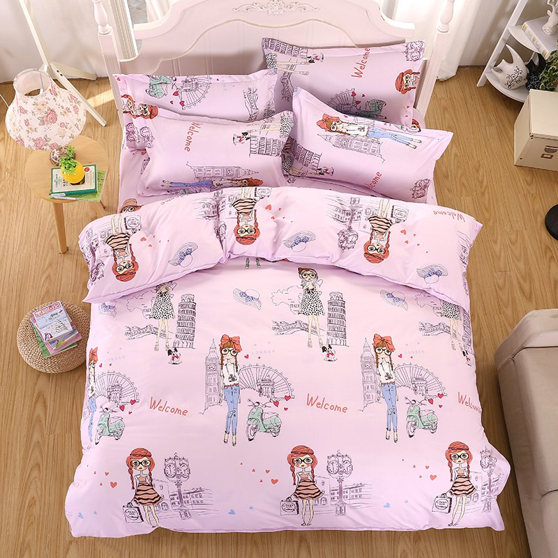 weina 4-piece Cotton Warm Pretty Girl Pattern Bedding Set - PINK FULL