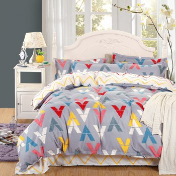 weina 4-piece Cotton Warm V Letter Pattern Bedding Set - COLORFUL COLORFUL