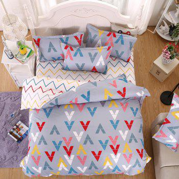 weina 4-piece Cotton Warm V Letter Pattern Bedding Set - COLORFUL QUEEN
