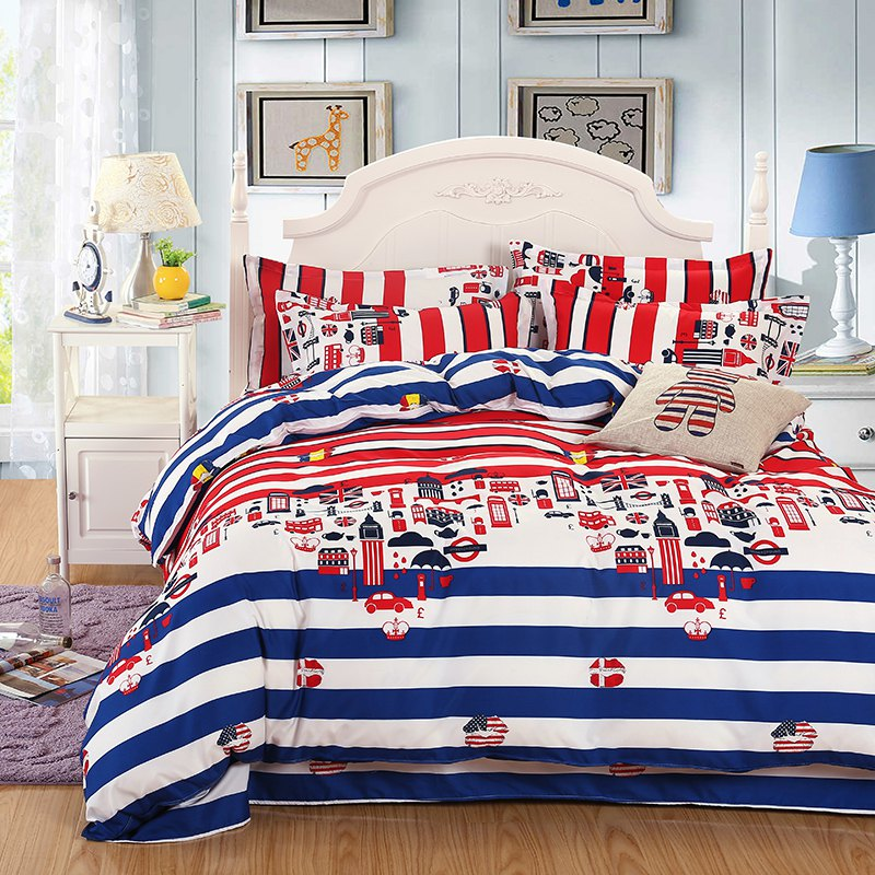 weina 4-piece Cotton Warm Colorful City Pattern Bedding Set - COLORFUL TWIN